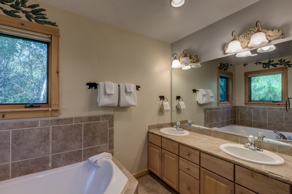2 Vanity Master Bath with jetted tub
