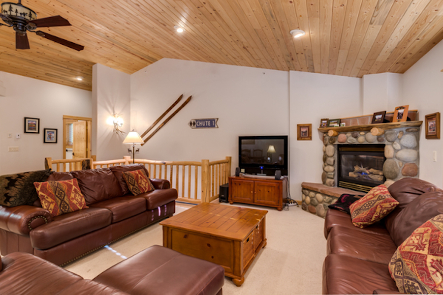 Spacious, mountain living room with couches
