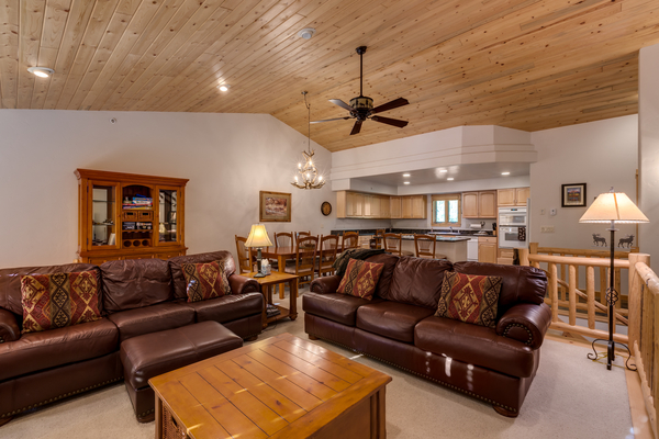 Open floor plan with couches and table