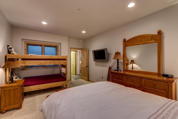 Lower level Queen plus Bunk Bedroom