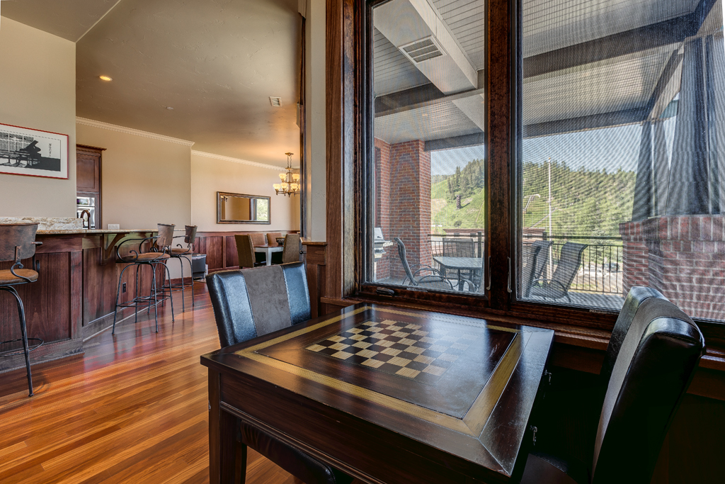 Chess Table with Patio View