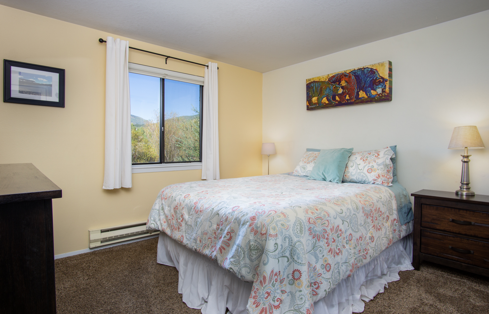 Master Bedroom with Queen Bed in our Steamboat Springs Townhome