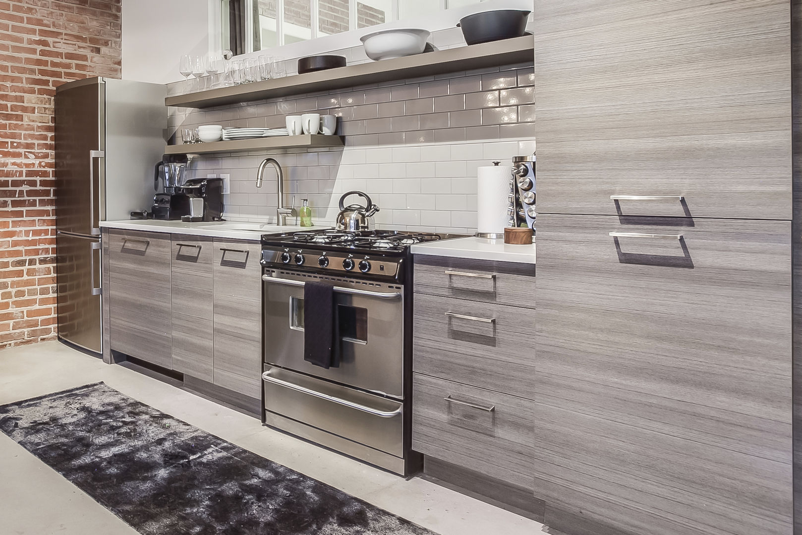 Cozy Kitchen with Fridge and Oven in Sears Loft