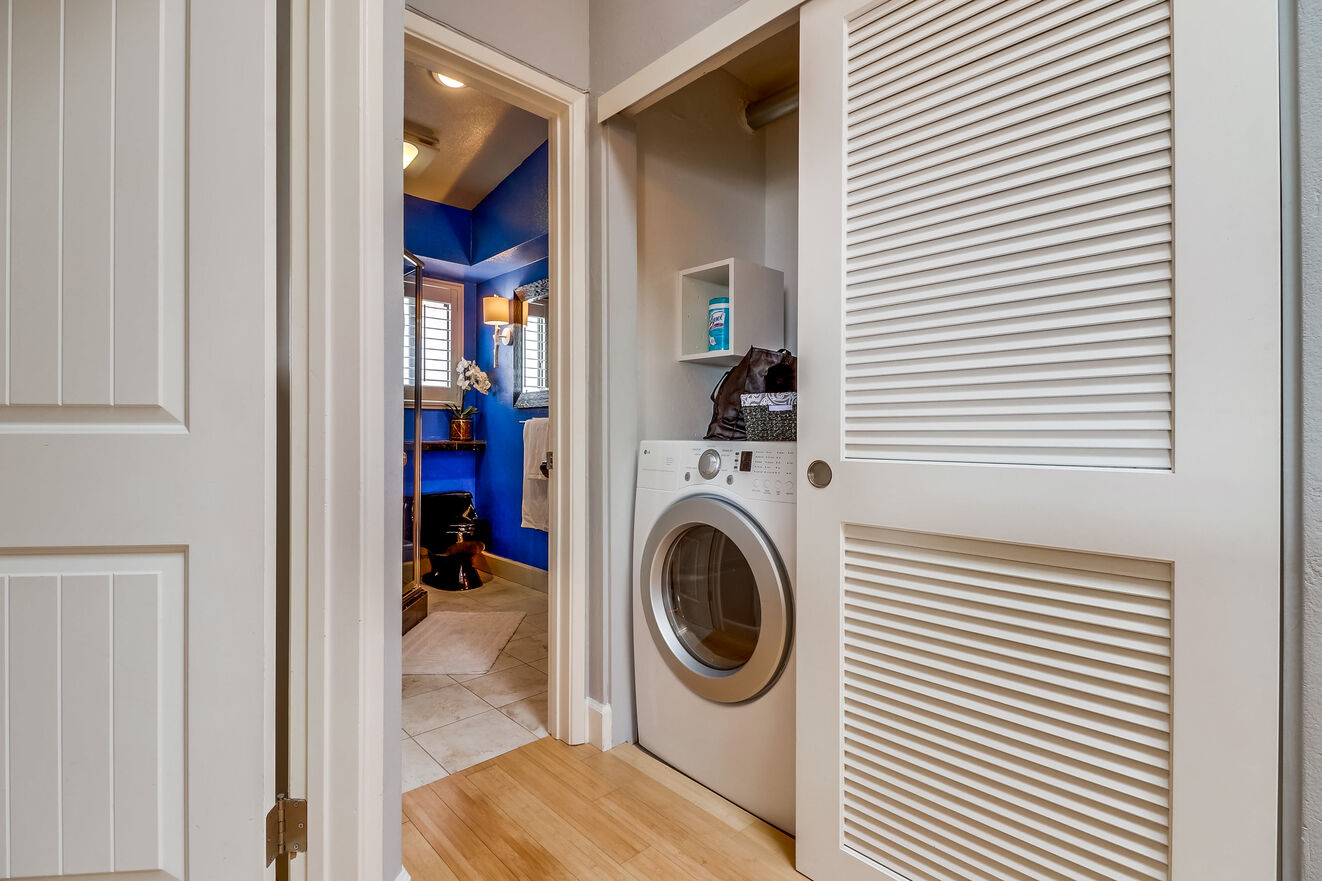 Full size washer and dryer are included