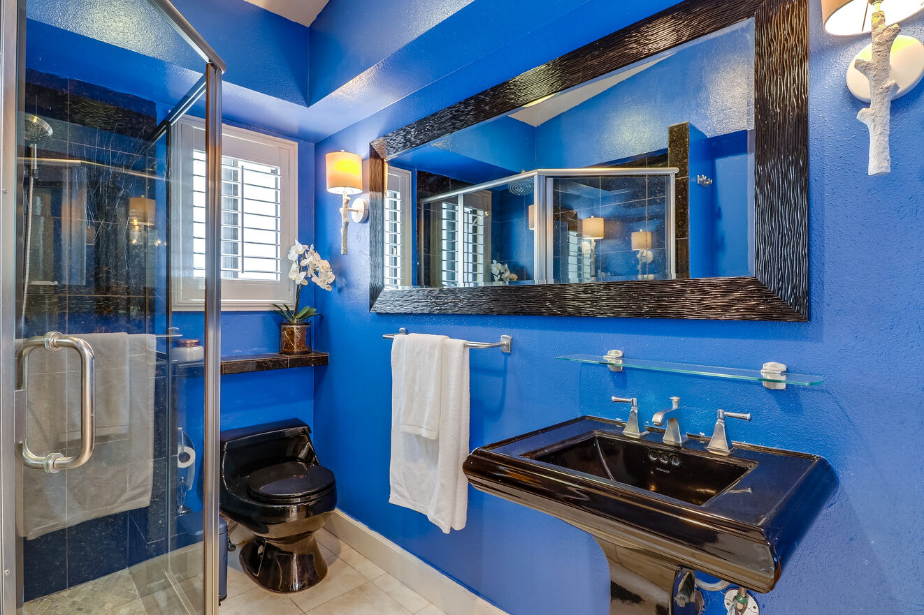 The second bathroom showcases a bold design theme and glass shower