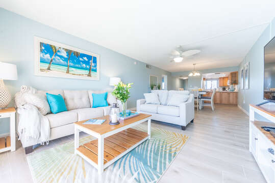 Bright and beachy living area!