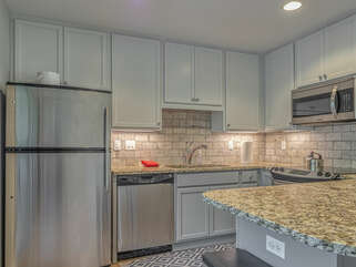 Stainless appliances and granite counter tops