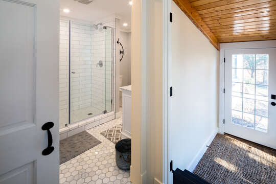 Updated master bath with tile shower - 55 Lime Hill Chatham Cape Cod - New England Vacation Rentals