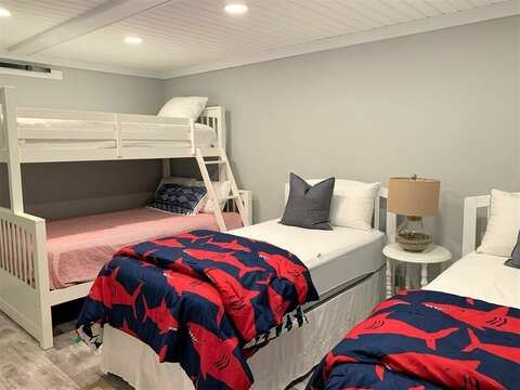 Basement bedroom with 2 twin beds and a bunk with dble bed with twin on top-55 Lime Hill Chatham Cape Cod - New England Vacation Rentals