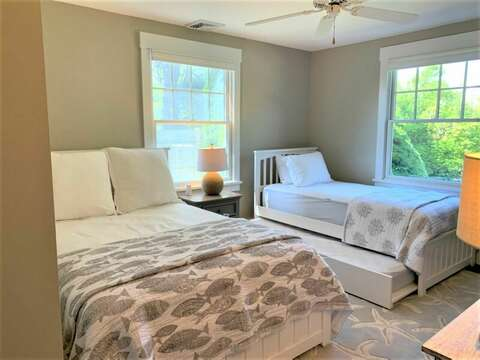 Bedroom #2 with a full bed and twin trundle bed.55 Lime Hill Chatham Cape Cod - New England Vacation Rentals