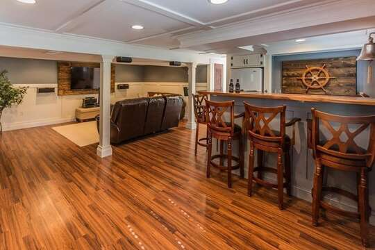 Entertainment area with wet bar for cocktail time! - 10 Seventh Street Harwich Cape Cod - New England Vacation Rentals