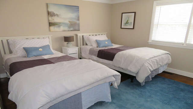 Bedroom 2 includes two twin beds - 10 Seventh Street Harwich Cape Cod - New England Vacation Rentals