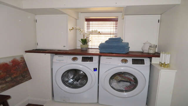 Full washer and dryer in laundry nook on lower level - 10 Seventh Street Harwich Cape Cod - New England Vacation Rentals