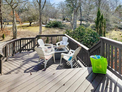 Large two-tier deck with fire pit for entertaining - 10 Seventh Street Harwich Cape Cod - New England Vacation Rentals