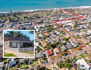 Aerial view of home and the mapped out walk to the beach!