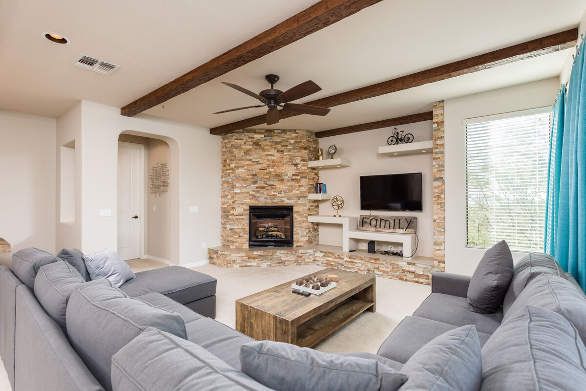 Fireplace with large flat screen TV