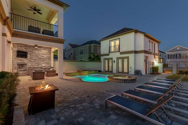 Enjoy the fire pit and ample seating around the patio