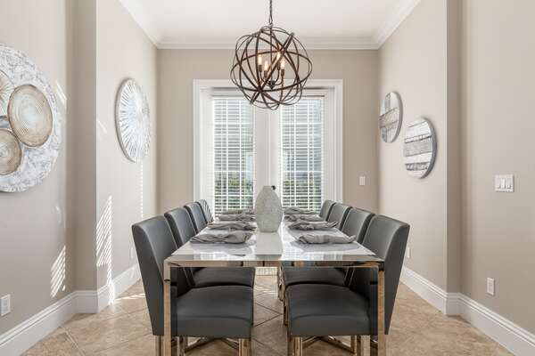 The formal dining area seats 8