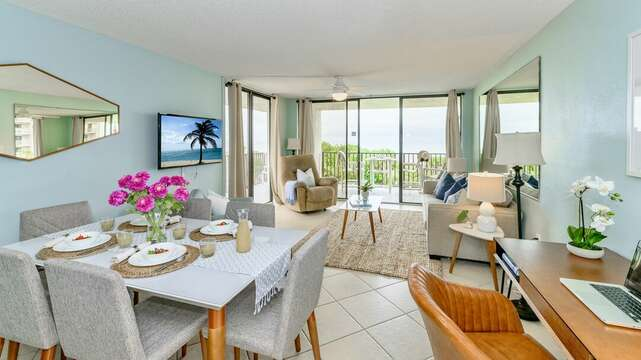 Bright, beautiful, beachy view of the ocean from your living room & dining area