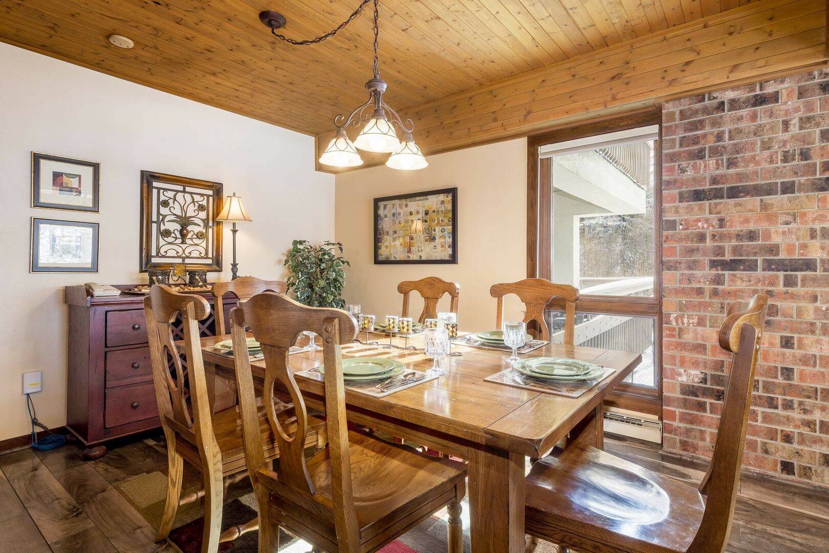 Exposed brick and great light in the dining room