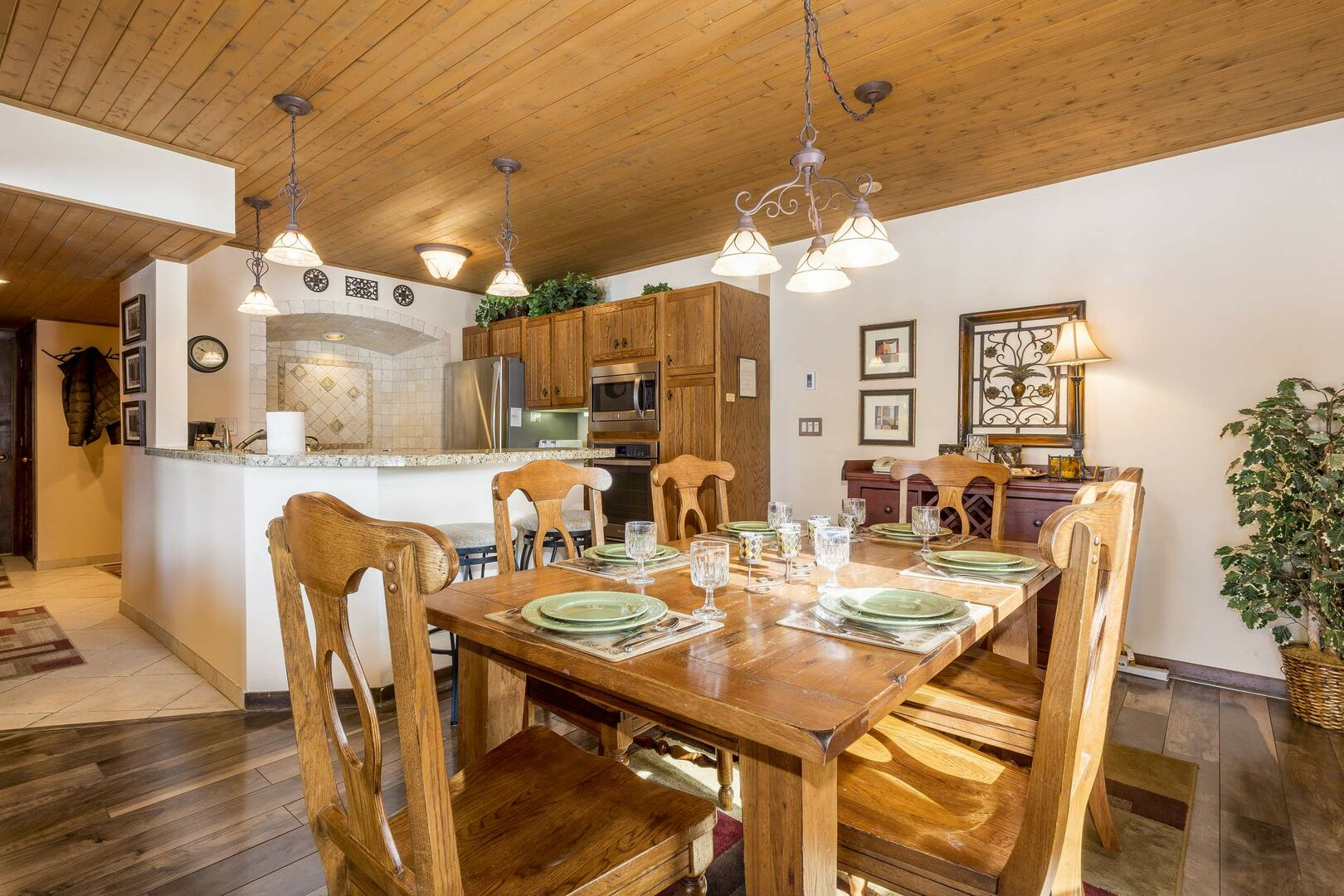 Large dining room table with room for six guests