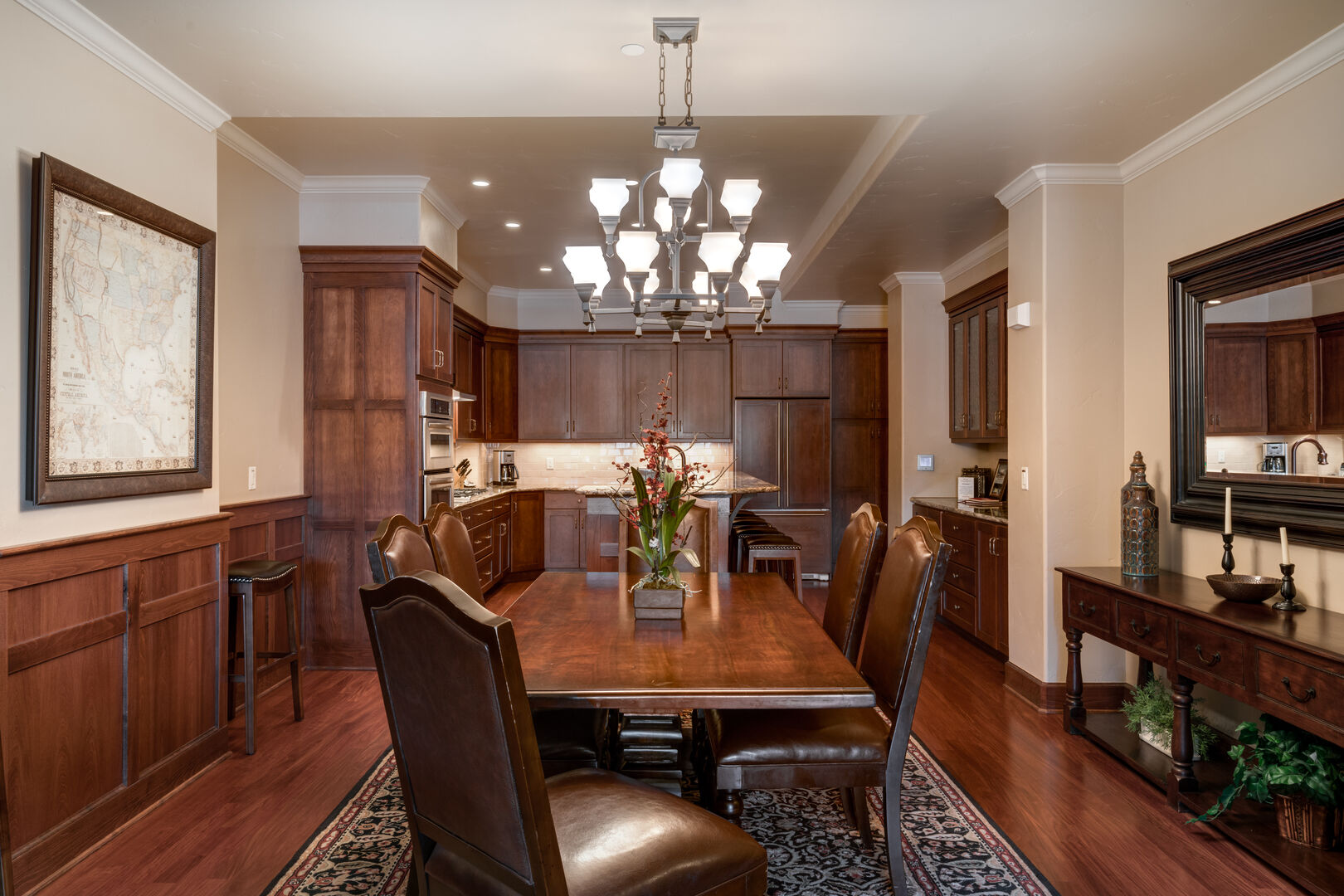 Elegant Dining Room Table in our Steamboat Springs Vacation Condo