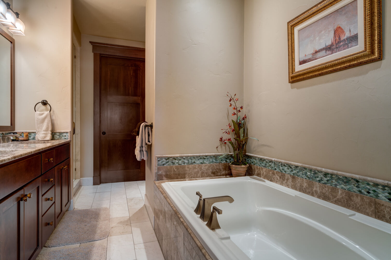 Master Bathroom in our Steamboat Springs Vacation Condo Features a Jacuzzi Tub