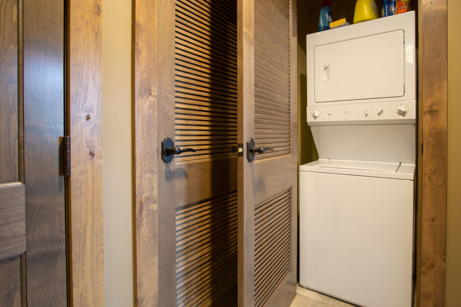 Closet with Washer and Dryer in our Steamboat Springs Luxury Condo.