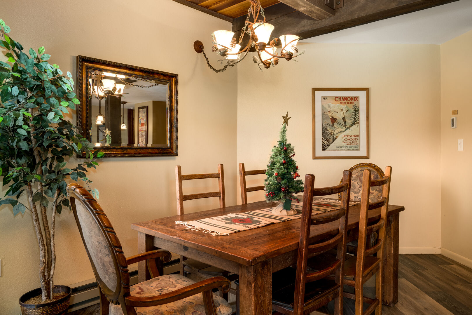 Large dining table with seating for 6