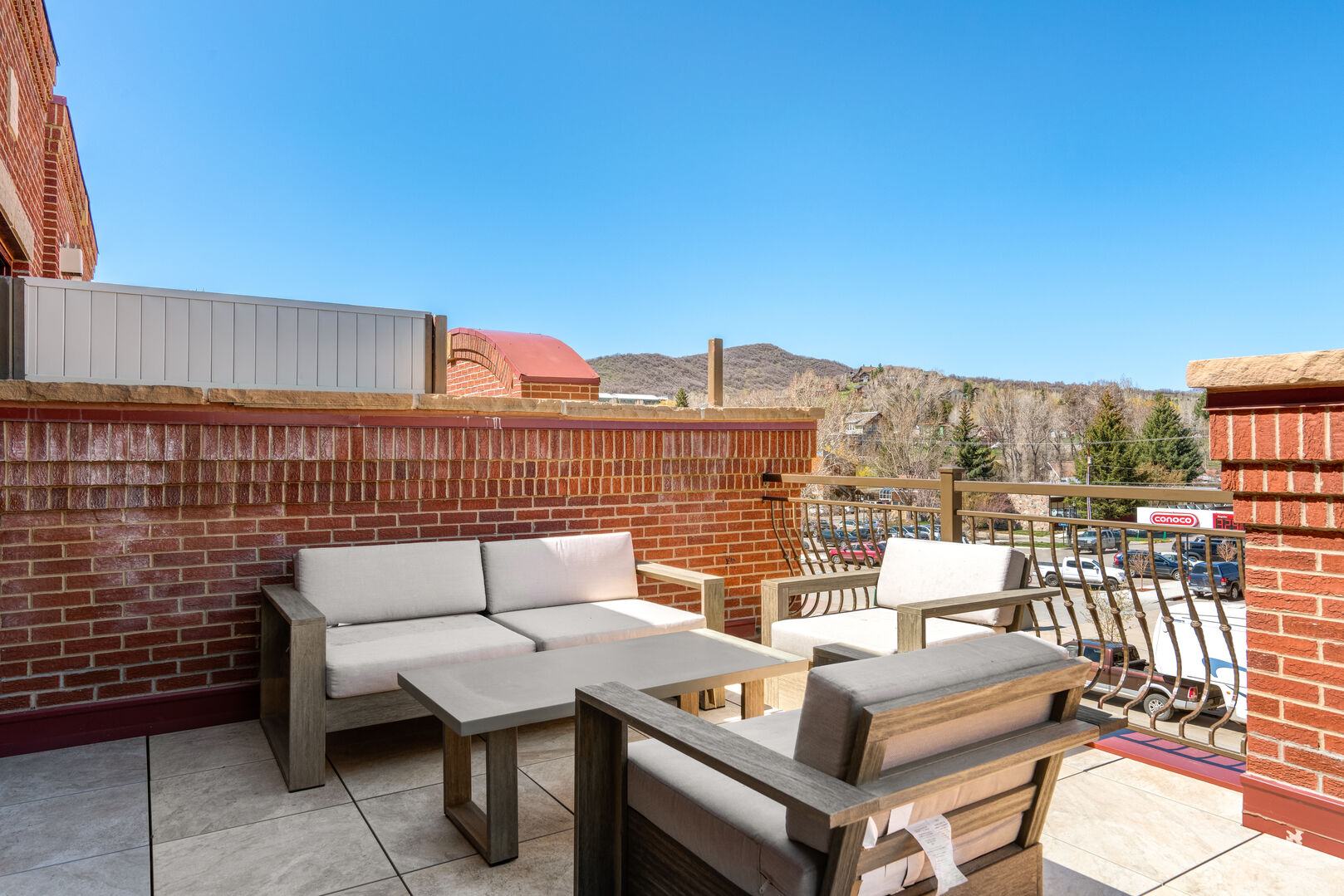 New, comfortable seating to enjoy the cool evenings on the deck.