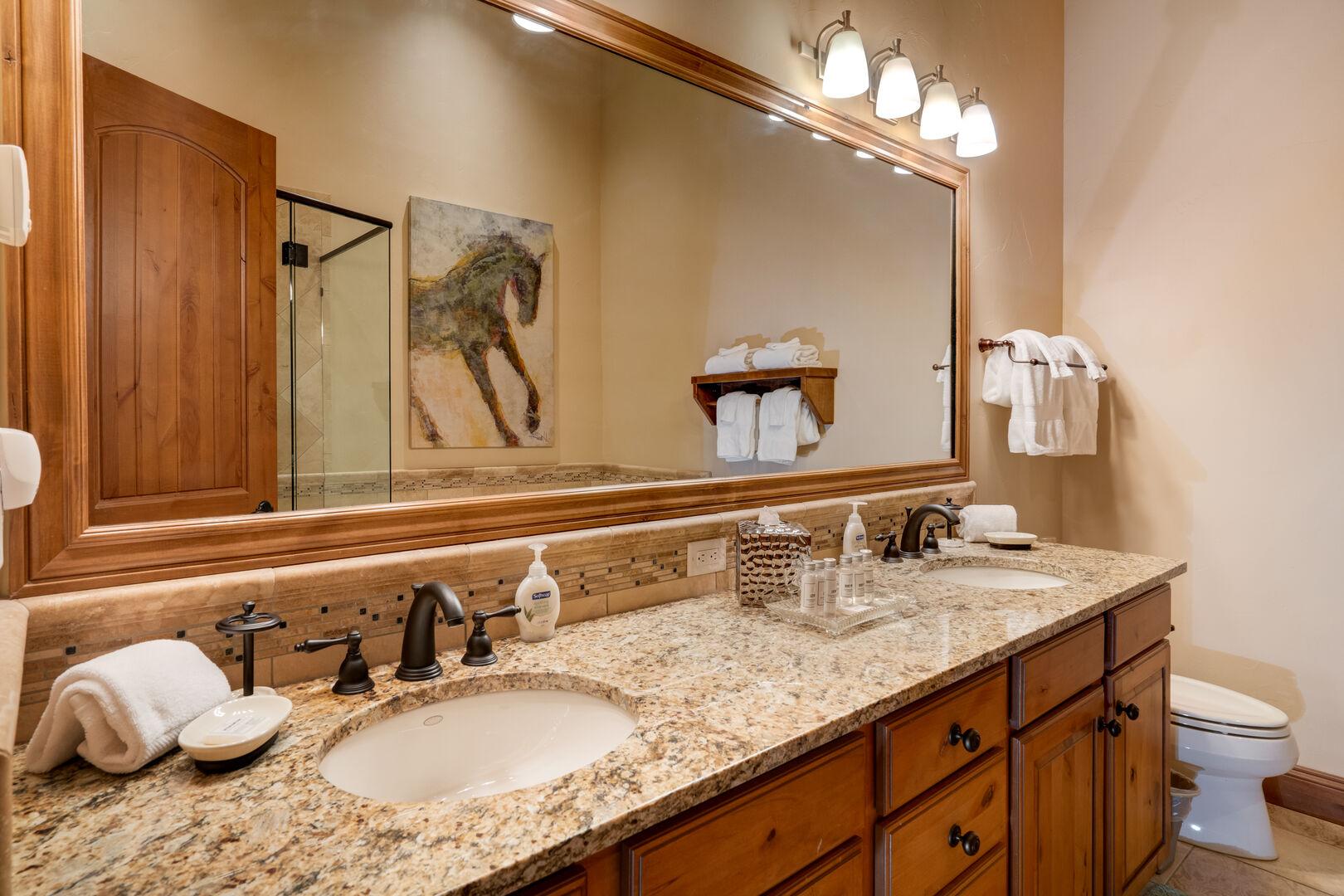 Double sinks in the double queen bedroom