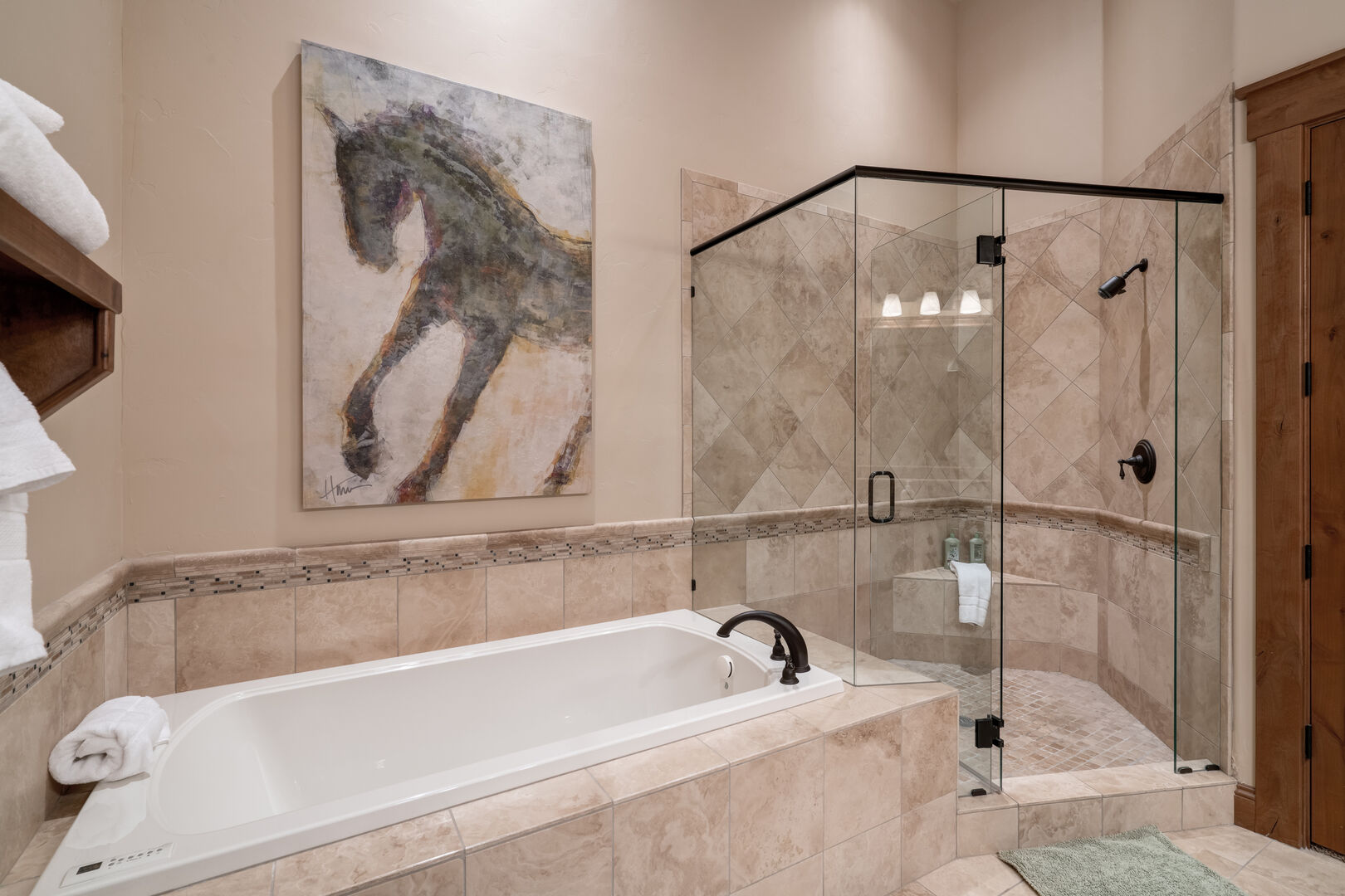 Large separate shower and soaking tub