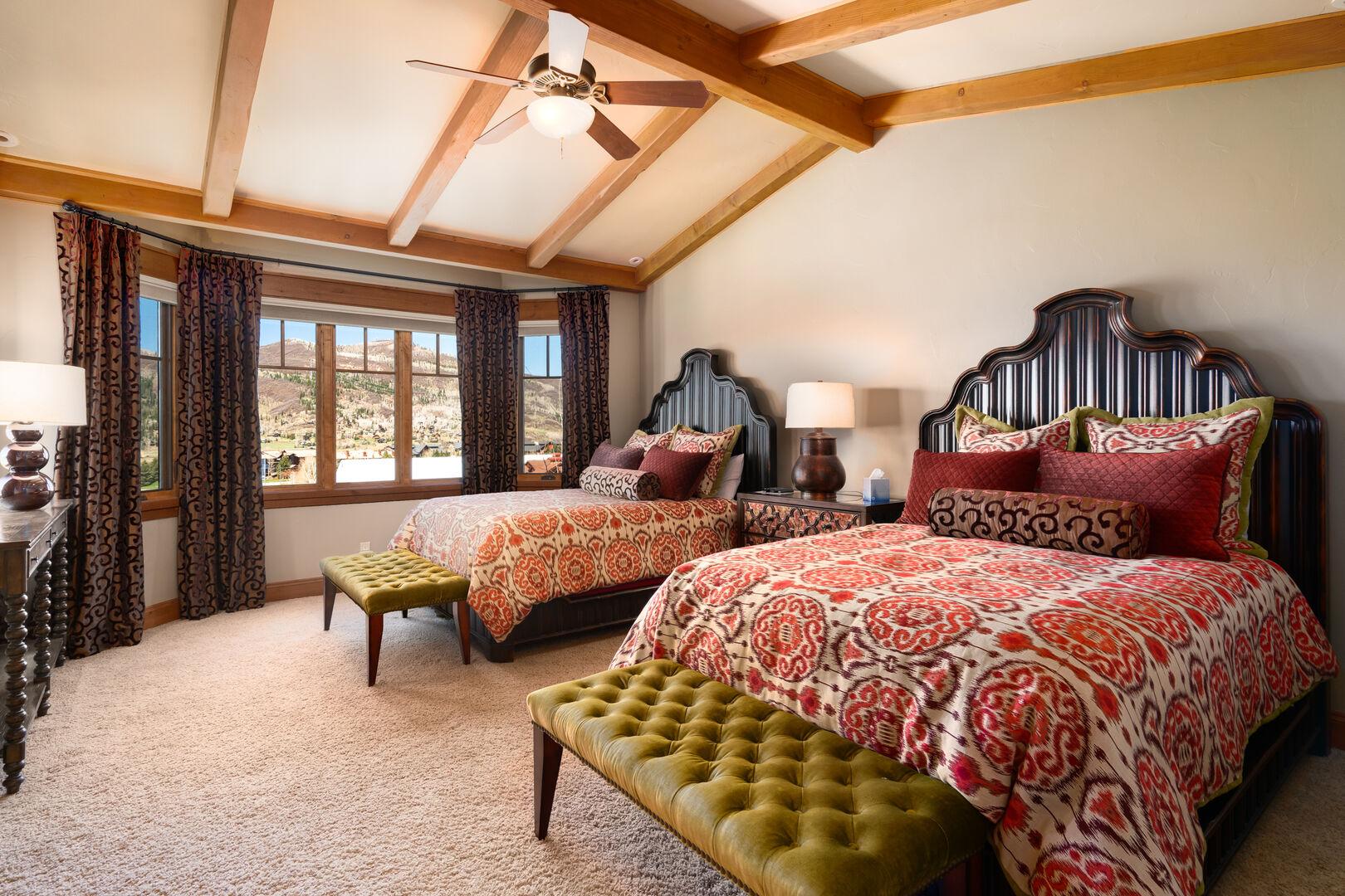 Mid level double queen bedroom.