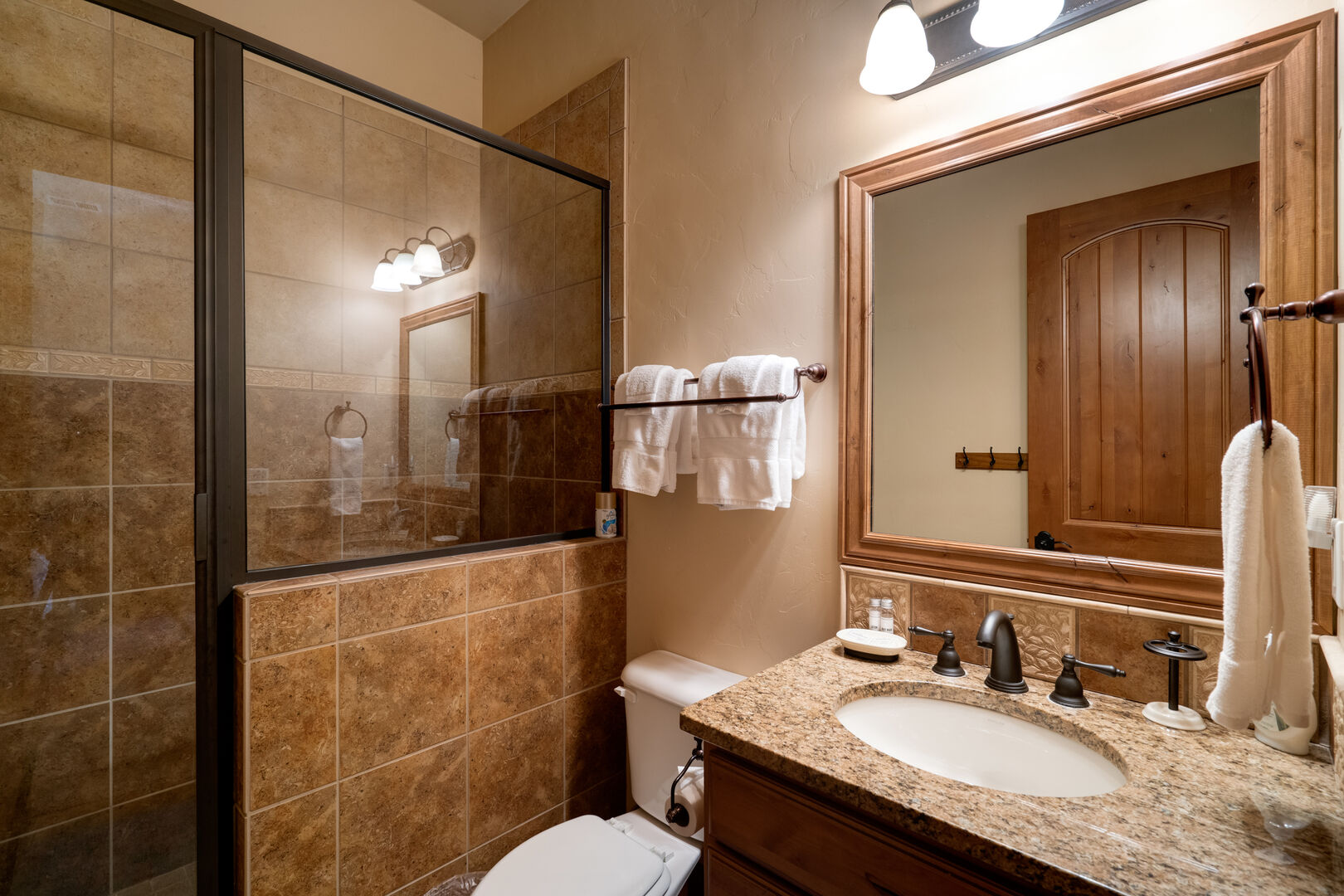Lower level hall bathroom.