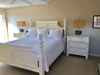 Master bedroom on upper level with king bed