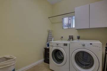 Newer washer and dryer with plenty of detergent for your convenience
