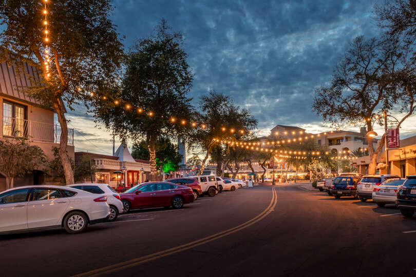 Vehicles Parked on Street Luxury Vacation Rental in Scottsdale is Located On.