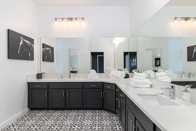 Plenty of Counter and Cabinet Space in Luxury Bathroom.