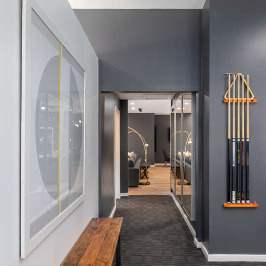 Image of Hallway Leading from Game Room to Another Room.