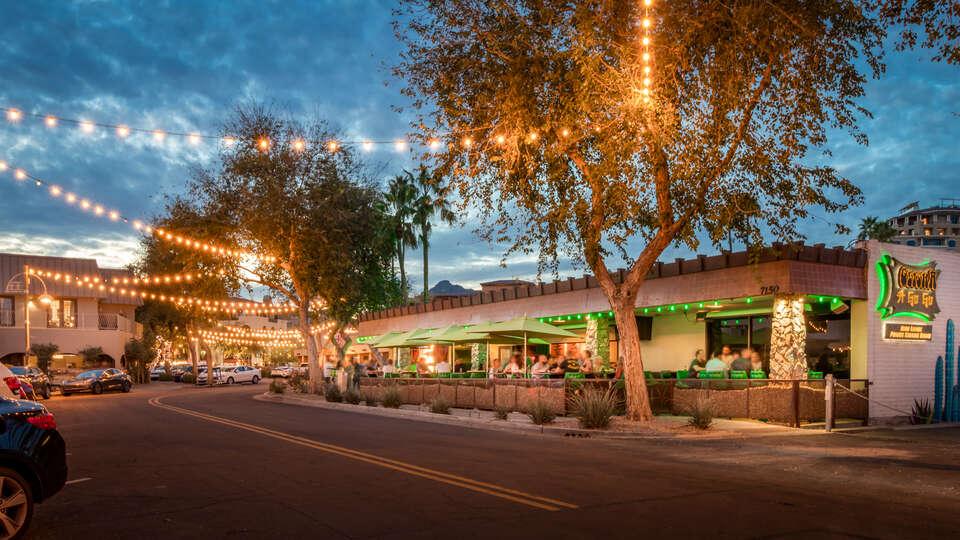 Image of Restaurants On Street Across from Luxury Vacation Rental in Scottsdale.