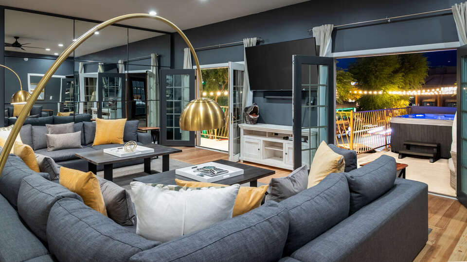 Large Grey Sectional in Luxury Vacation Rental in Scottsdale.