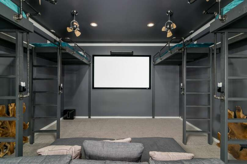 6 Twin Raised Beds Theater Room