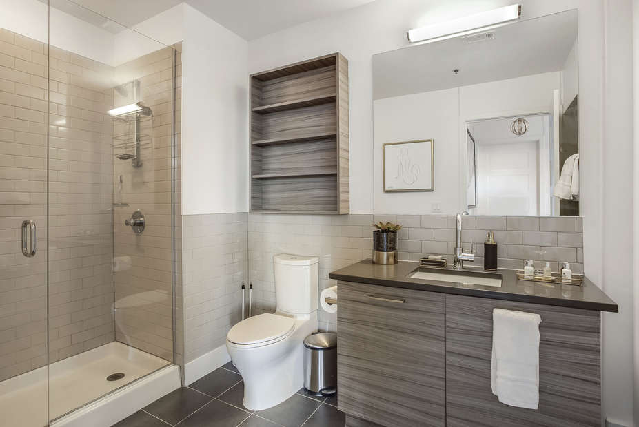 Bathroom with Walk-In Shower in our Ponce Apartment in Atlanta