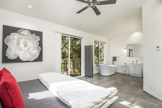 Master Bedroom and Bath with a Large Soaking Tub