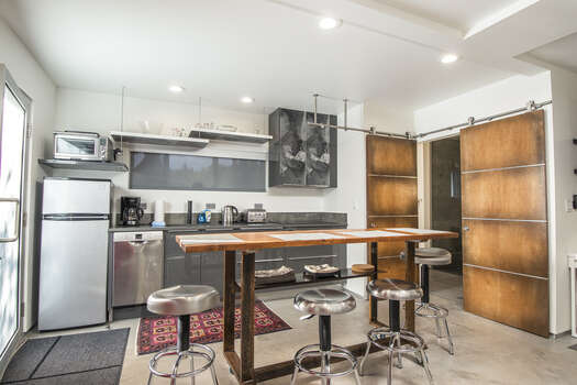 Kitchentte with Refrigerator, Coffee Maker, Toaster Oven, Island Seating and Private Bath