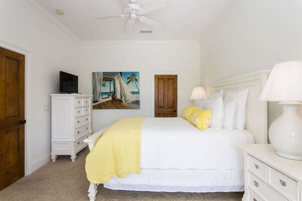 Beach theme bedroom with a Queen bed