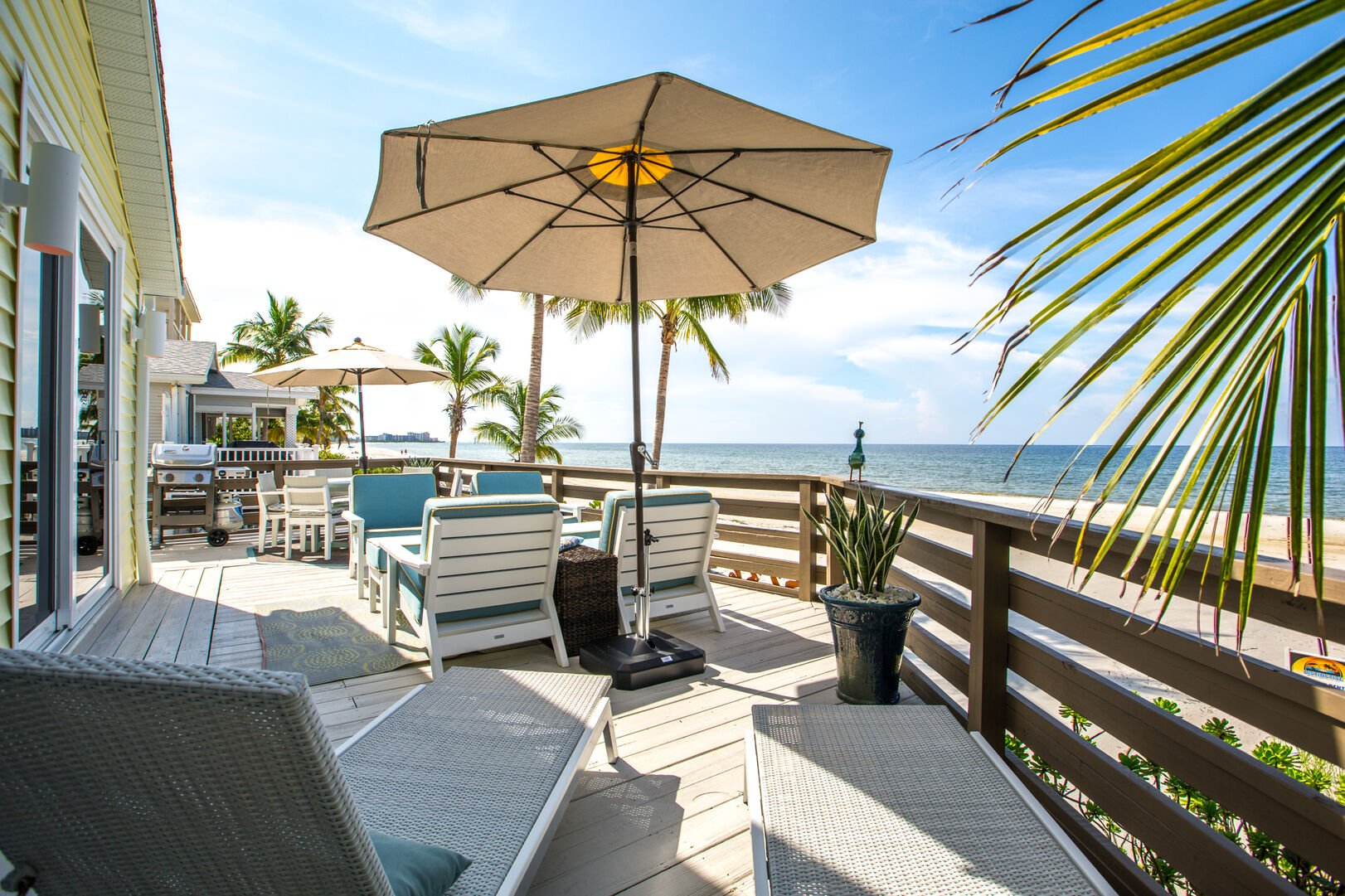 Patio overlooking the Beach at Beach Rental Fort Myers Beach