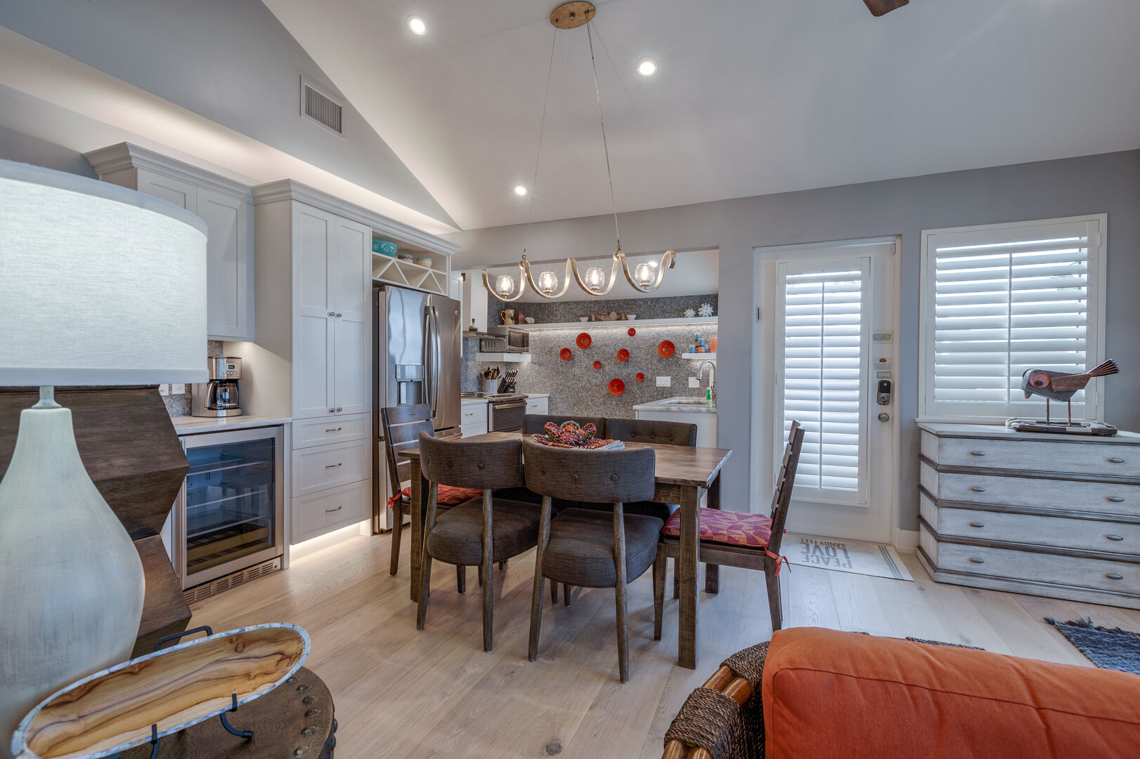 Dining Area with Vaulted Ceilings at Beach Rental Fort Myers Beach