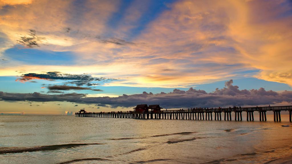 Sunset Behind Fort Myers Beach Pier