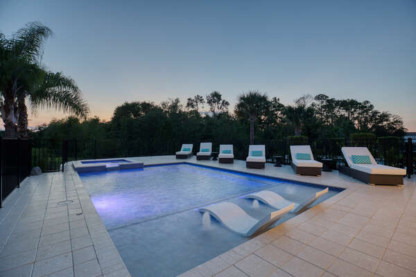 Go for a night swim in the private pool